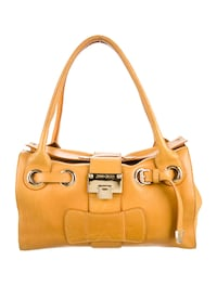 brown leather 2-way handbag TORONTO