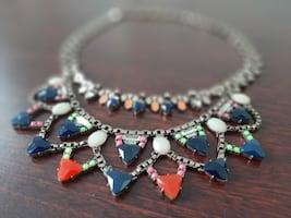 Statement Necklace, Two Tier Colored Stones