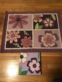 Purple-and-white floral area rugs and wall decorations 35 km