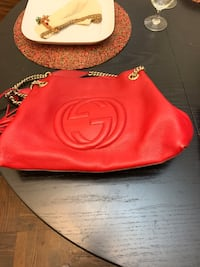 Red Gucci Bag; Brown Gucci Scarf