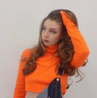 New Turtle neck crop top black yellow orange