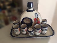 white, blue, and red ceramic floral glassware set