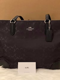Coach Signature Nylon Zip Tote