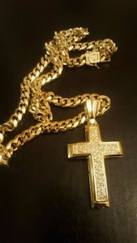 14k gold cuban with diamond cross  New York