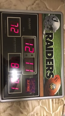 Evergreen Oakland Raiders Scoreboard Desk Alarm Clocked