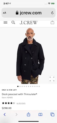 Men's JCREW Peacoat.  Brand New Purcellville, 20132