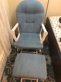 Blue rocking chair and ottoman