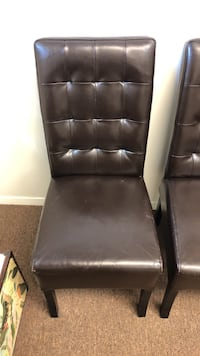 6 Brown Leather Chairs