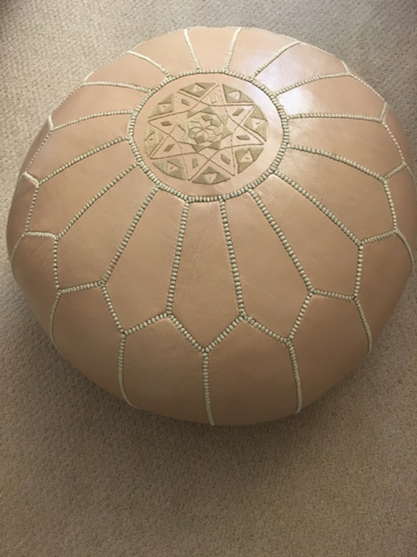 Astounding Moroccan Leather Pouf Ottoman Beige Neutral Gmtry Best Dining Table And Chair Ideas Images Gmtryco