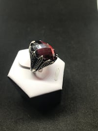 Silver and red gemstone ring Richmond Hill, L4C 3K1