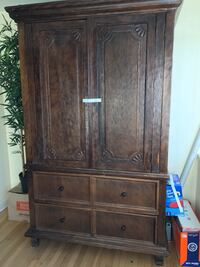 Will deliver brown hand carved wooden armoire South Pasadena, 91030