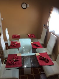 white and red wooden dining table set Mississauga, L5C 3E2