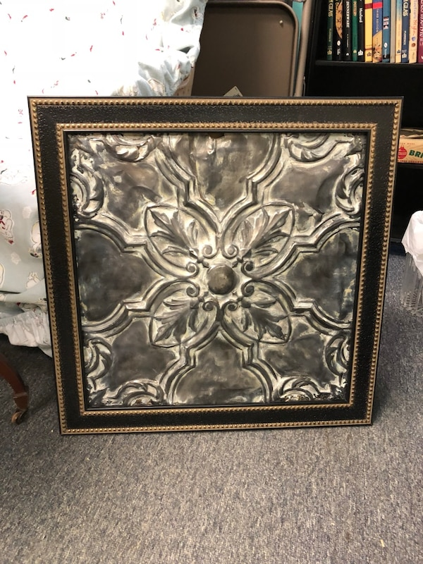 Used Antique Metal Tin Ceiling Panel Red As Wall Art In A New Black With Br Nail Head Trim For Nicholasville Letgo