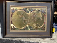 Gold foil old world map/globe glass in picture frame Brooksville, 34602