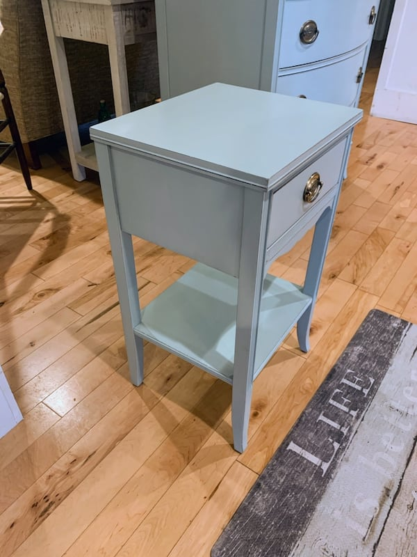 Nightstand : Vintage Blue Farmhouse Mahogany Nightstand 8