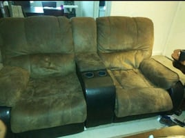brown couch with bed