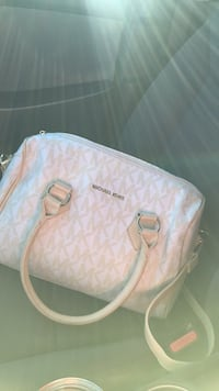 White and pink michael kors monogram leather tote bag Chicago