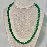 Genuine Imperial Jade Beaded Necklace with Sterling Silver Clasp Ashburn