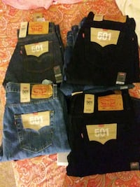 two black and blue Levi's jeans Tracy