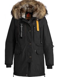 svart skinn zip-up parka jakke 6249 km