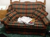 brown and green plaid fabric loveseat Lima, 45807