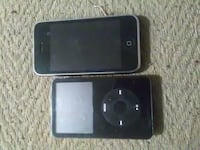 black iPhone 3G and black iPod Classic