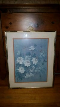 white and blue flower painting with brown wooden frame Toronto, M3H