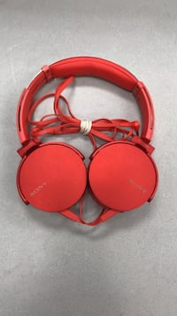 Sony matte red wired headphones