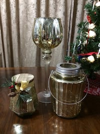 Christmas candle holders and jar candle set of three