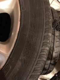 """gray OEM KIA 5-spoke wheel with tire set. 17"""".  You will be buying for the rims, tires not good (one flat). Excellent condition. New Tecumseth, L9R 2E6"""