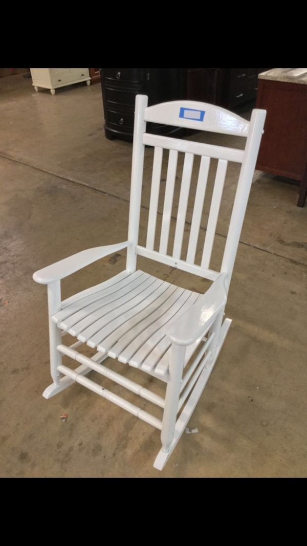 Miraculous Hampton Bay Glossy White Wood Outdoor Rocking Chair 79 Caraccident5 Cool Chair Designs And Ideas Caraccident5Info