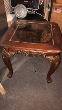 Brown wooden framed glass top table Athens, 30607