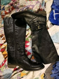 Black  Leather boots ladys