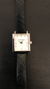 Square burberry silver analog watch with black leather strap