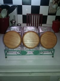 3 glass canister set with rack