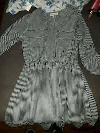 black and white striped long-sleeved dress Miami Beach, 33141