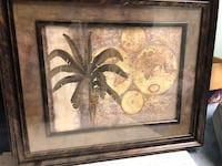 brown wooden framed painting of brown and white flower Rocky Face, 30740