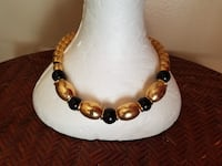Vintage Goldtone and black necklace by Napier 740 mi