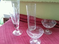 24 pieces set, engraved clear glass footed cups Takoma Park, 20912