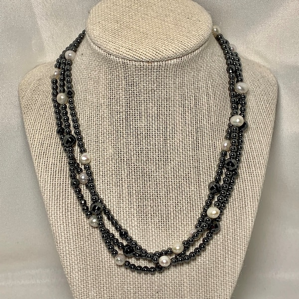 Authentic Hematite Pearl Necklace