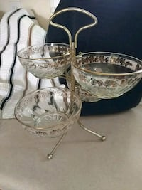 Vintage Pink and Gold Relish Dishes w/Rack Westtown, 10998