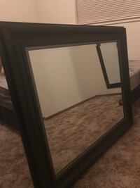 Black wooden framed mirror Redding, 96003