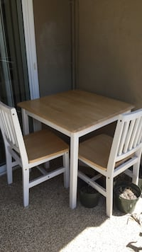 Rectangular brown and white wooden table with two chairs (ikea)