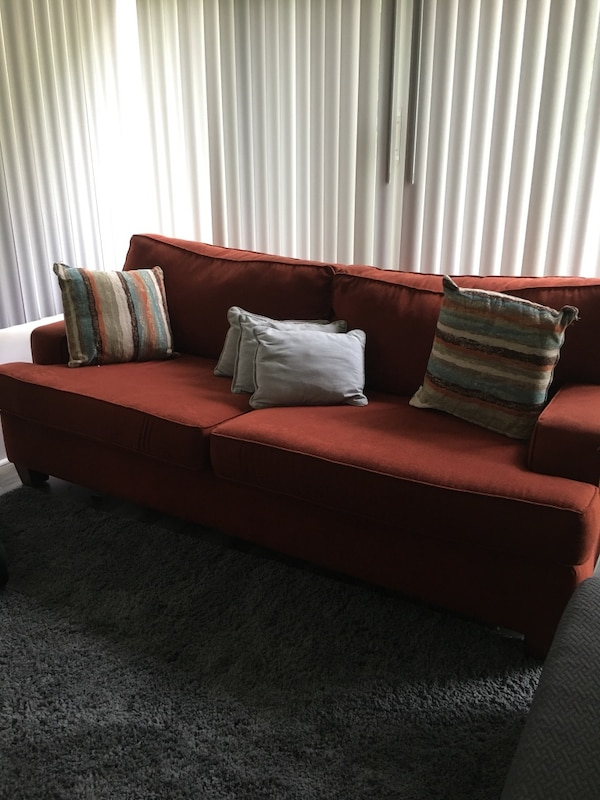 Used Burnt Orange Microfiber Couch Made By Klaussner Furniture For