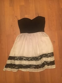 Women's black and white tube top dress Springfield, 97478