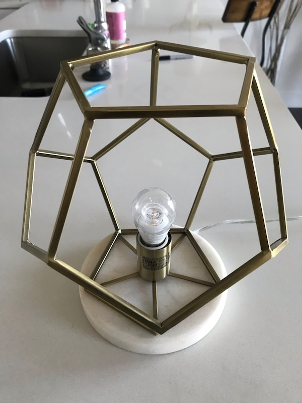 Geometric with Marble Accent Lamp-Brass