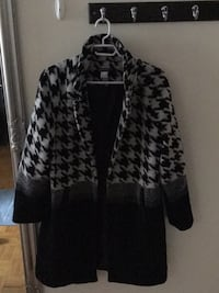 black and white leopard print zip-up jacket