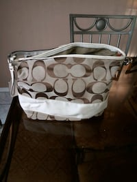 white and brown Coach monogram tote bag Victorville, 92395