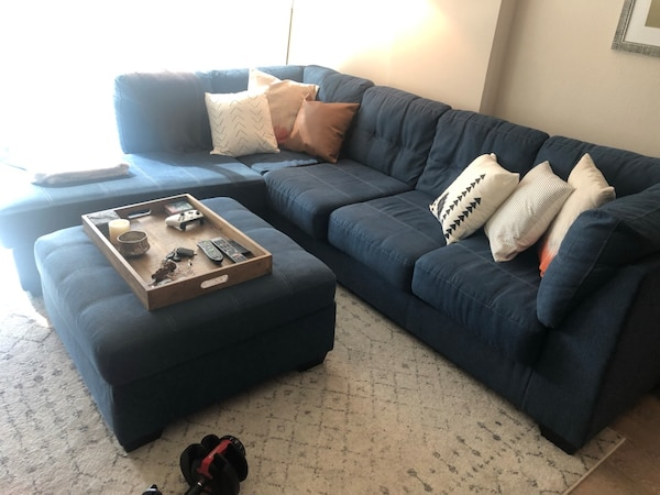 Marvelous Used Denim Blue L Shaped Sectional Couch Sofa Ottoman And Ibusinesslaw Wood Chair Design Ideas Ibusinesslaworg