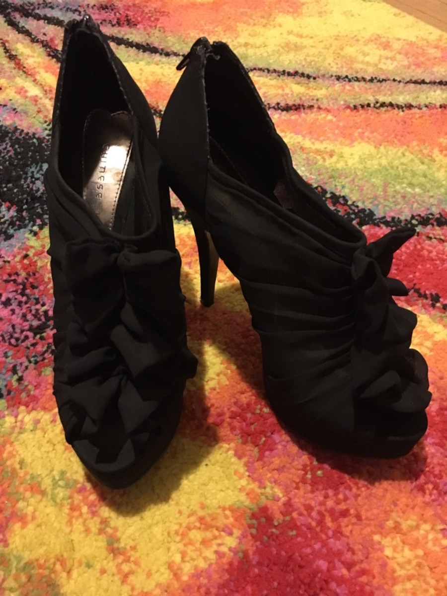 Chinese laundry peep toe ruffle mesh high heels. These COMPLETE the outfit, great shoes I just don't get out much to wear them! Only worn maybe 3 times. - NH